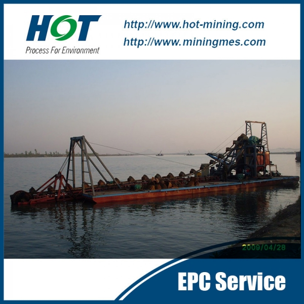 Diesel Engine 100t/H Bucket Type Gold Dredger